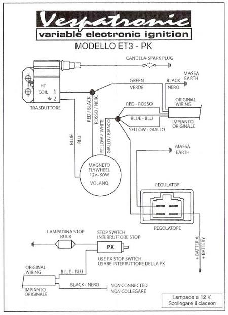 Schema elettrico Vespatronic per Vespa PK 50 S