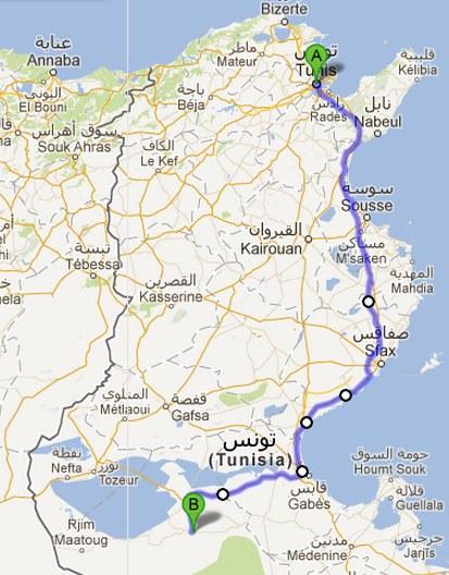 Il percorso Tunisi - Douz