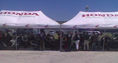 L'arrivo allo stabilimento della Honda Italia di Atessa